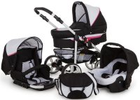 Travel System Stroller Pram Pushchair 2in1 3in1 Set Isofix X-Car Go by SaintBaby White & Pink 3in1 with baby seat