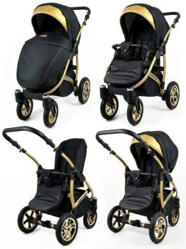 Kinderwagen 3in1 Set Isofix Buggy Babywanne Autositz Gold-Deluxe by SaintBaby