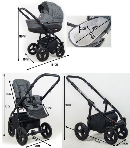 Travel System Stroller Pram Pushchair 2in1 3in1 Set Isofix Exel by SaintBaby