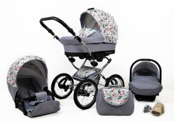 Kinderwagen 3in1 Retro Autostoeltje Buggy Isofix Nostalgica Silver By Saintbaby