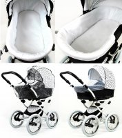 Kinderwagen 3in1 Retro Autositz Buggy Isofix Nostalgica Silver by Saintbaby