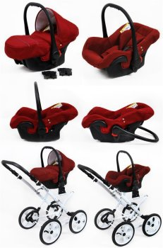 Kinderwagen 3in1 Retro Autositz Buggy Isofix Luftreifen Rosso by Saintbaby