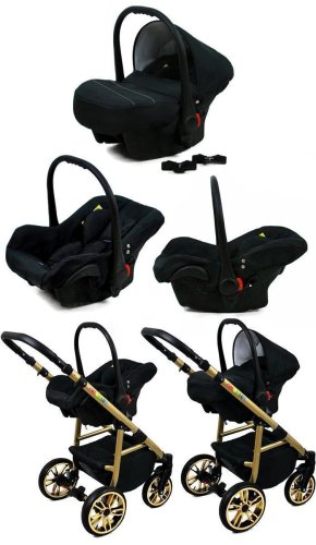 Kinderwagen 3in1 Isofix 2in1 DIN EN 1888 19 Farben Fire Black by SaintBaby