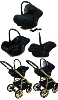 SaintBaby Stroller Pram Pushchair 2in1 3in1 Set all in one baby seat Buggy Isofix Fire Black