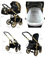 SaintBaby Stroller Pram Pushchair 2in1 3in1 Set all in one baby seat Buggy Isofix Fire White