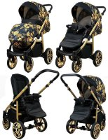 SaintBaby Stroller Pram Pushchair 2in1 3in1 Set all in one baby seat Buggy Isofix Fire Gold